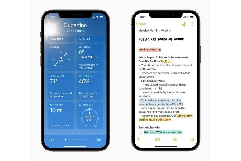 Two iPhones showing redesigned weather and notes apps