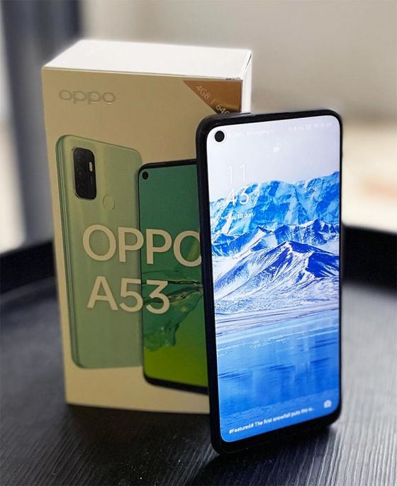 OPPO A53 phone and box