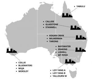 Map of coal fired power stations in Australia
