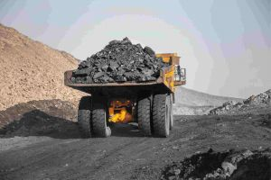 Coal on the back of a truck at coal mine