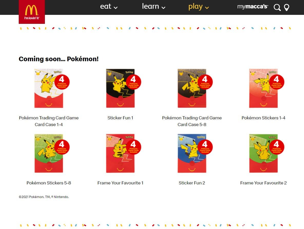 McDonald's Pokemon cards