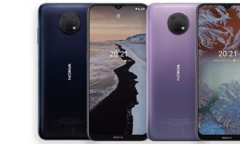 Front and back of Nokia G10 phones in dark blue and light purple colourways