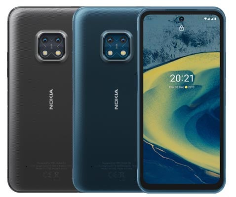 Nokia XR20 phones in black and blue colourways