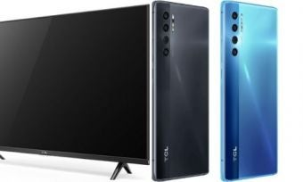 A 43 inch TCL TV beside two TCL 20 Pro 5G phones