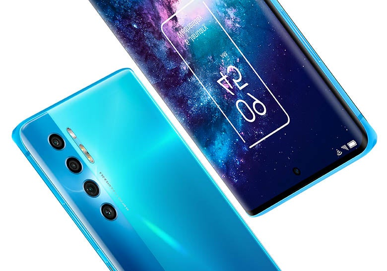 TCL 20 Pro 5G phone in blue