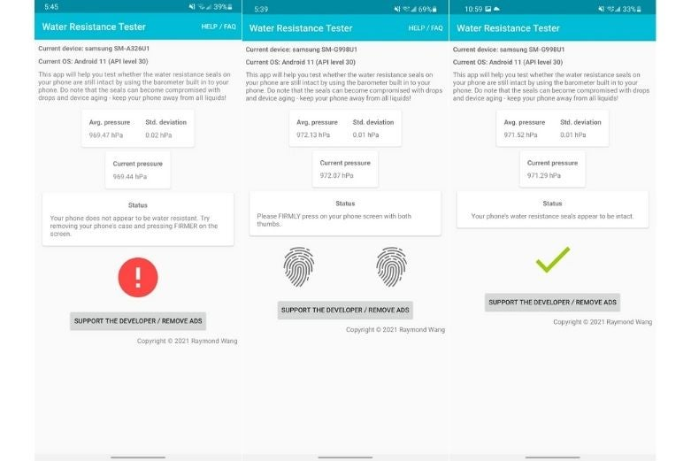 Screenshots of the Water Resistance Tester app