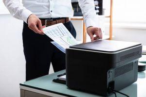 Business man using printer