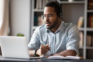 Man studying online
