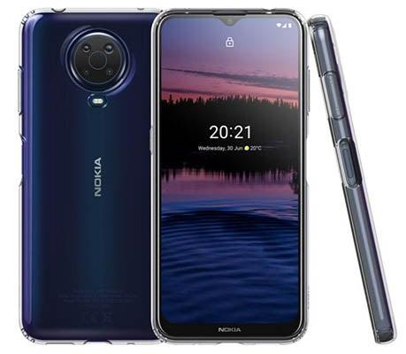 Front and back of Nokia G20 phone in dark blue colour