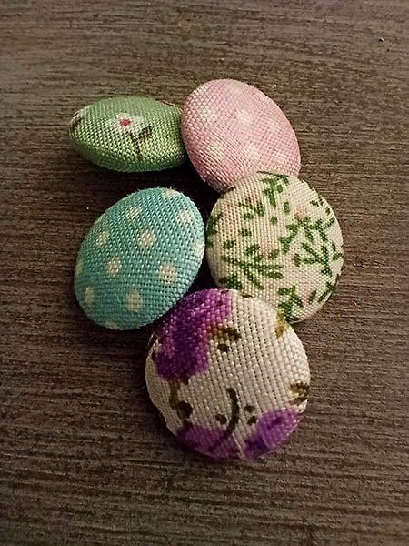 Closeup of fabric buttons