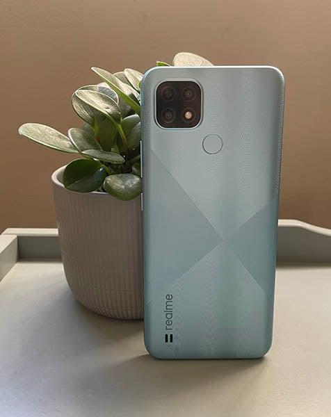 Back of Realme C21 blue phone next to pot plant