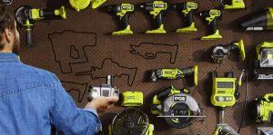 Ryobi Power Tools hanging on wall