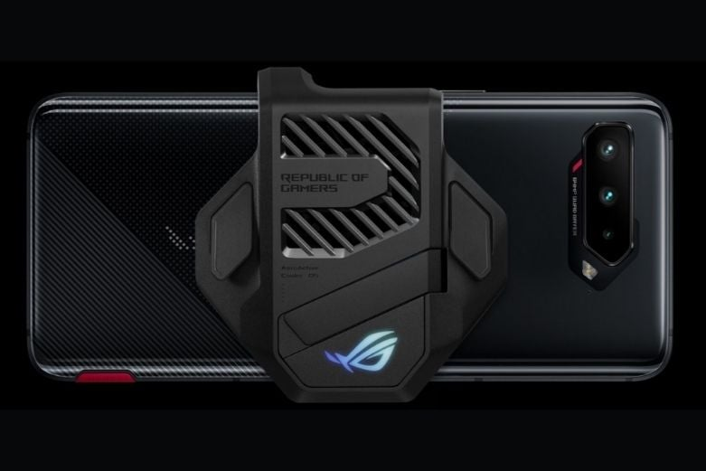 The ROG Phone 5 with a back mounted fan