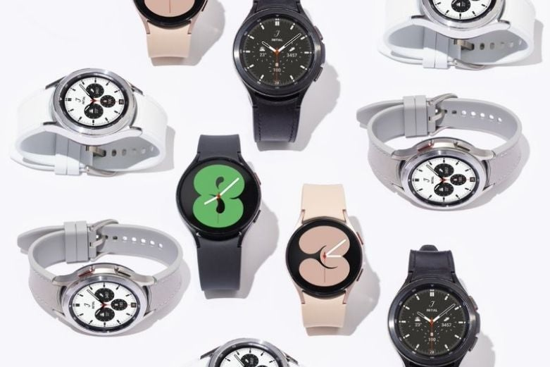 Assorted Samsung Galaxy Watch 4 and Watch Classic devices