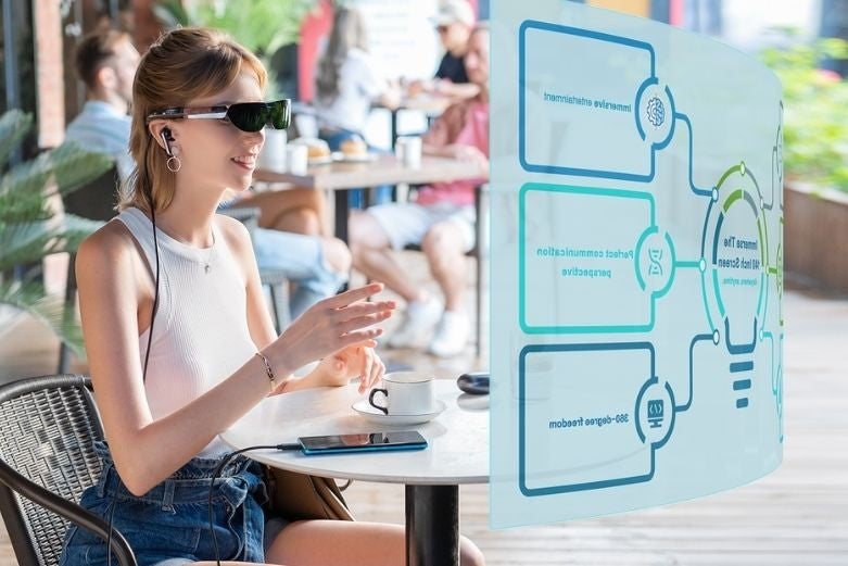 A person using a pair of smart glasses