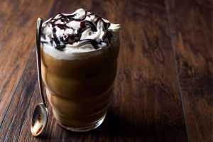 Chocolate Frappuccino with cream on top