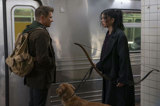 Still from Disney+ Hawkeye show with Clint Barton and Kate Bishop characters