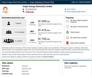 Origin Energy's standing offer two-period time of use VEFS