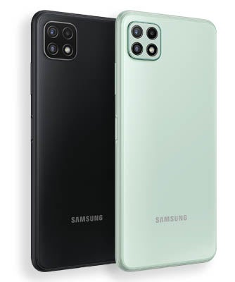 Back of grey and mint Samsung Galaxy A22 5G phones