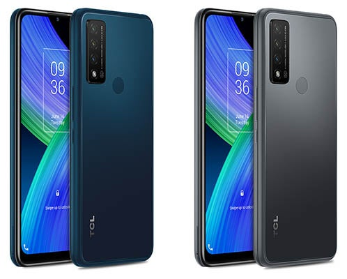 Front and back of TCL 20 R 5G phones in grey and blue