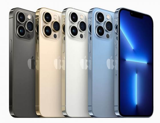 iPhone 13 Pro series phones in four colours