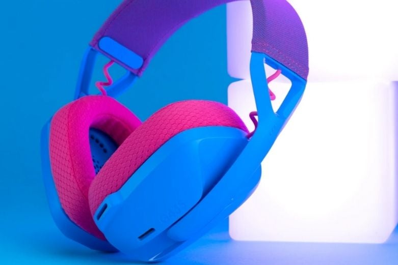 logitech headset in blue and raspberry