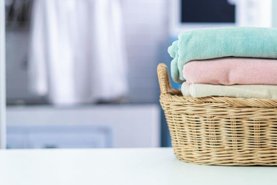 Towels in washing basket