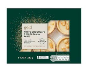 Gold White Chocolate, Salted Honey & Macadamia Tarts