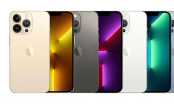 Front and back of iPhone 13 Pro phones in four colours