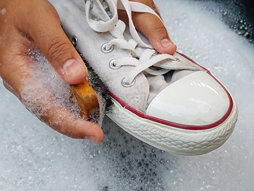Can you use bleach on white shoes?