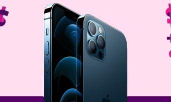 Blue iPhone 12 Pro on purple background