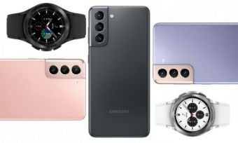 The Samsung Galaxy S21 and the Galaxy Watch 4 Classic smartwatch
