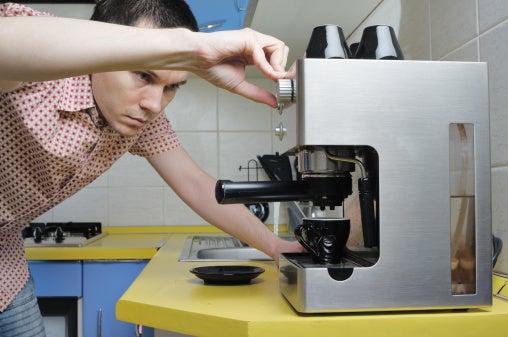 Man home coffee machine