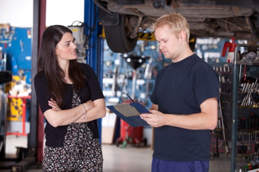 Angry customer with mechanic