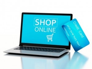 Online shop laptop credit card
