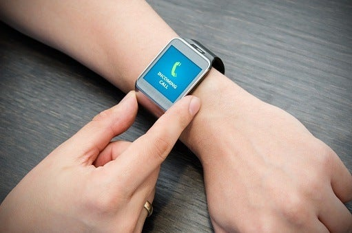 Woman using smart watch