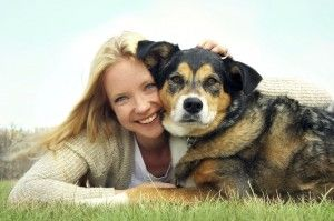 woman with her pet dog